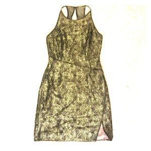 BCBGMAXAZRIA olive gold lace halter dress